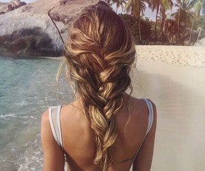 beach, blonde, and hairstyle image