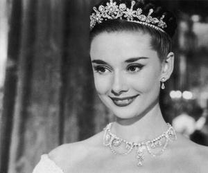 audrey hepburn, princess, and black and white image