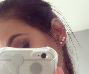 earrings, midway, and piercing image