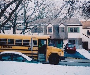snow, bus, and school image