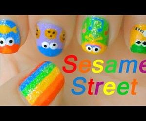 nail art, elmo nail art, and sesame street nail art image