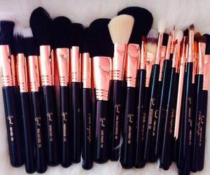 Brushes, makeup, and rose gold image