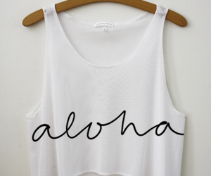 Aloha, white, and shirt image