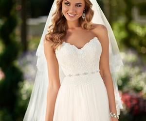 wedding dress, wedding, and bride image