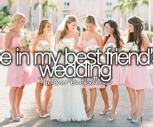 wedding, best friends, and dress image
