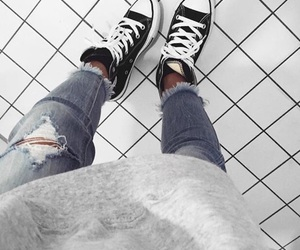 converse, fashion, and ripped jeans image