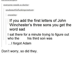 crowley, dean winchester, and funny image