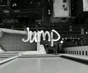 jump, suicide, and black and white image