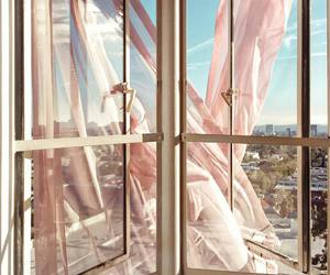 city, curtains, and window image