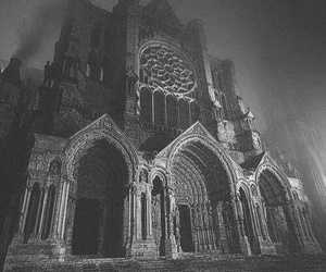 black and white, church, and dark image