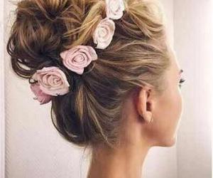 flowers, hair styles, and hair bun image