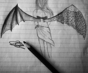 angel, Devil, and black and white image