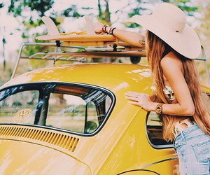 girl, yellow, and summer image