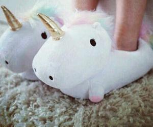 unicorn, slippers, and beautiful image