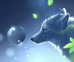 wolf and leaves image