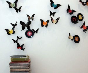 butterfly, music, and vinyl image