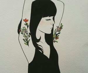 art, girl, and flowers image