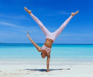 beach, beautiful, and handstand image