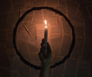 candle, dark, and fire image