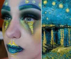 art, makeup, and van gogh image