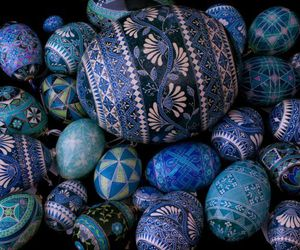 blue, decorated, and eggs image