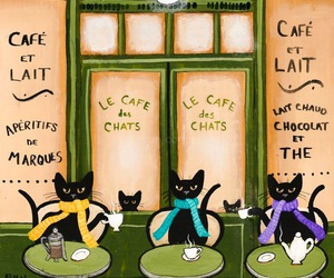 art, coffee, and cats image