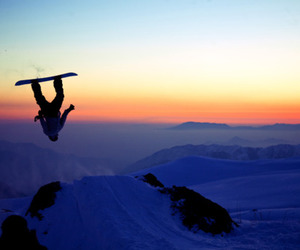 clouds, mountains, and snowboard image