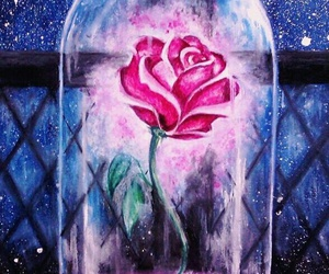 beauty and the beast, rose, and disney image