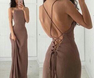 brown, dress, and girl image
