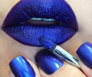lips, blue, and nails image
