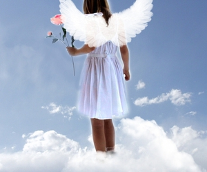 angel, blue, and wings image