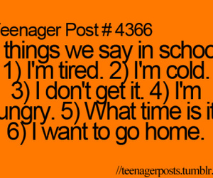 school, text, and tired image