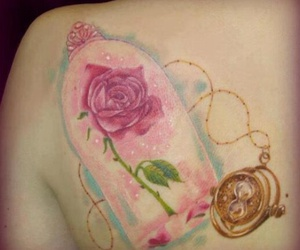 tattoo, rose, and beauty and the beast image