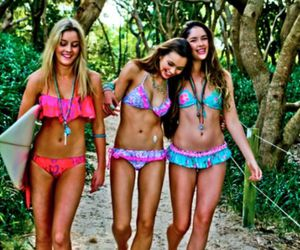 girl, surf, and friends image