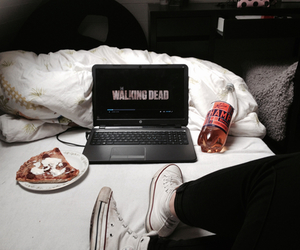 the walking dead, bed, and converse image