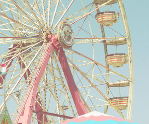 pink, ferris wheel, and fun image