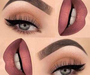 makeup, lipstick, and eyes image