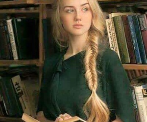 blonde, library, and studing image