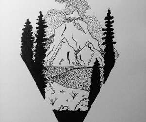 black, drawing, and forest image