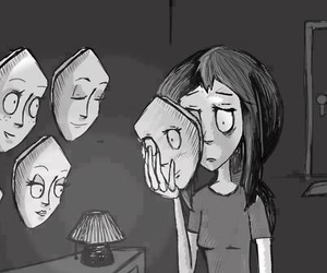 sad, mask, and face image