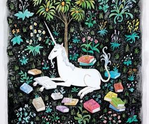 books and unicorn image