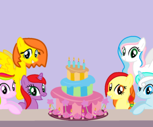MLP, b-day cake, and pony paint image