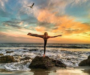 beach, healthy, and yoga image