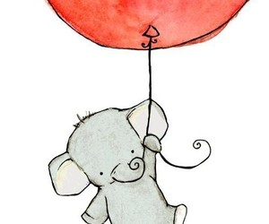 elephant, cute, and balloons image