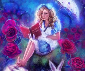 alice in the wonderland, drawing, and illustration image