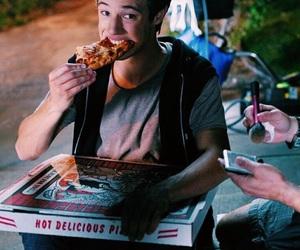 cameron dallas, pizza, and boy image