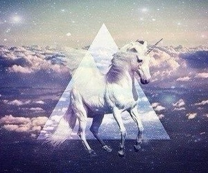 unicorn, magic, and triangle image
