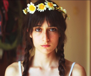 girl, braid, and flowers image