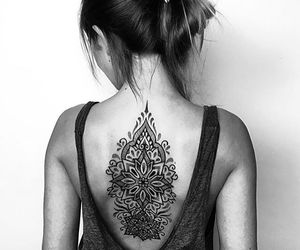 back tattoo, indian tattoo, and black ink image
