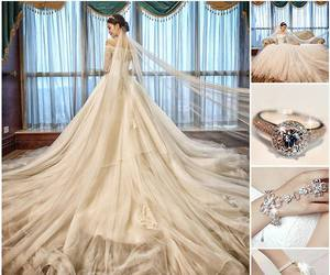 bracelet, wedding dress, and fashion image